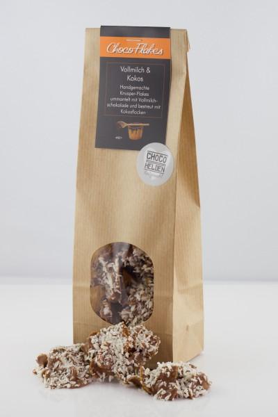 Knackige Cornflakes ummantelt mit feinster Vollmilch-Schokolade. Dazu noch Kokosflocken, lecker.
