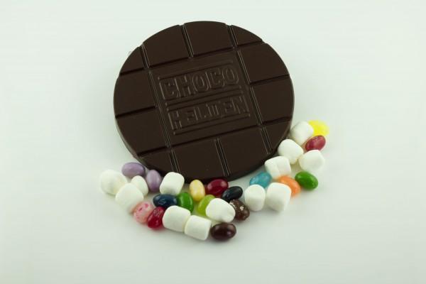 Zartbitter mit Marshmallows und Jelly Bellys