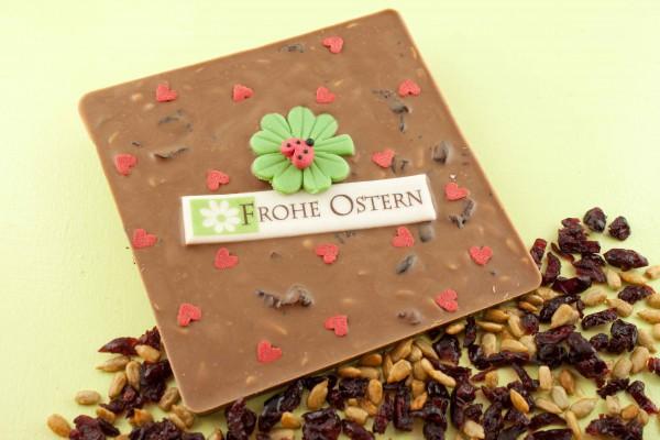 Vollmilch Schokolade mit gerösteten Sonnenblumenkernen und Cranberries