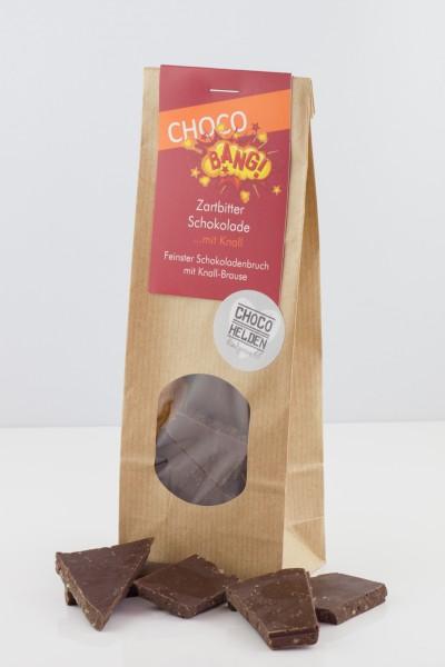 Edel-Zartbitter-Schokolade mit Knistereffekt.