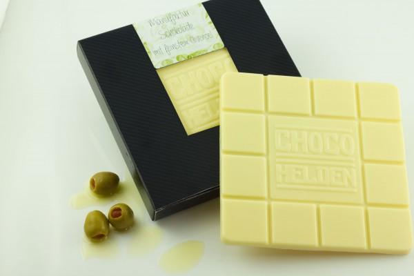 Weiße Schokolade mit Olivenöl.