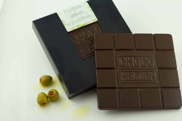 Zartbitterschokolade mit feinstem Olivenöl