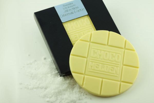 Weisse Schokolade, Ostseesalz-Kristalle.