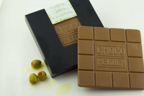 Vollmilchschokolade mit ein paar Tropfen Olivenöl